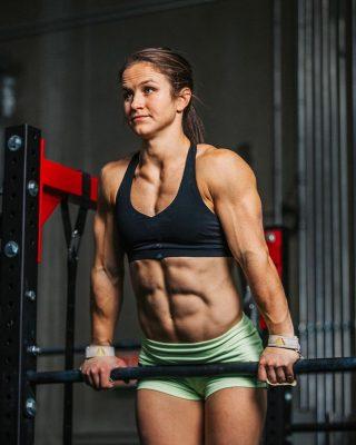 Kari Pierce doing push-ups as work out